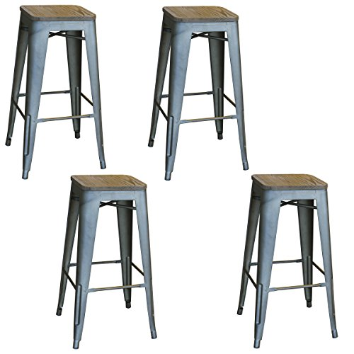 Amerihome  Loft Rustic Gunmetal Metal Bar Stool With Wood Se
