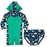 Rashoodz One Piece Sunsuit Rashguard Swimsuit Sun Hat and Swim Diaper Green 6-9M