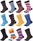Gallery Seven Mens Dress Socks - Funky Colorful Socks for Men - Style 1 - 12 Pack - Size 10-13