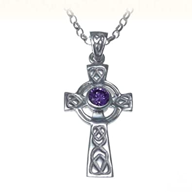 Sterling Silver and Amethyst Celtic Cross Pendant With 18