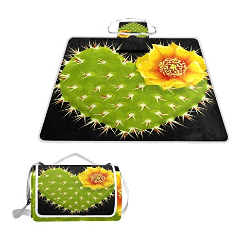 Fengye Love Heart Cactus Outdoor Handy Picnic Blanket Mat Cover Waterproof Grass Carpets Foldable Tote bag Camping Hiking Beach