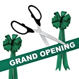 Grand Opening Kit - 36'' Black/Silver Ceremonial Ribbon Cutting Scissors with 5 Yards of 6'' Green Grand Opening Ribbon and 2 Green Bows