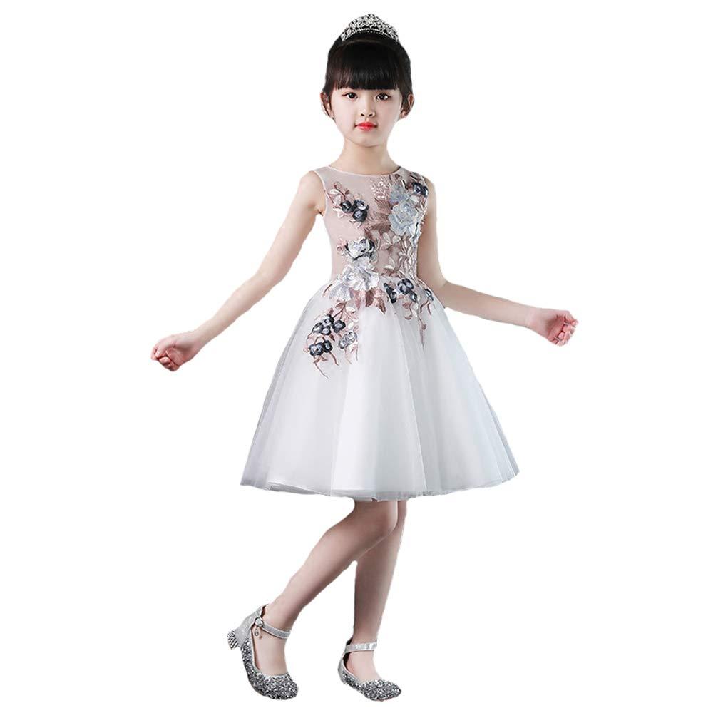 YONGMEI Tanz Kostüm-Prinzessin Kleid Kinder Laufsteg Klavier Kostüm Hochzeit Blumenmädchen Fluffy Gastgeber Sommer Abendkleid (Farbe : Weiß, größe : 140cm)
