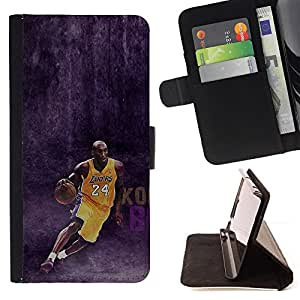 KingStore / Leather Etui en cuir / Samsung Galaxy S4 Mini i9190 / 24 Bryant - Lakers Baloncesto