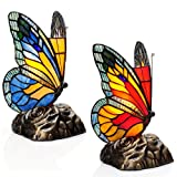 8'' Set of Two Tiffany Style Butterfly Stained Glass Touch Accent Lamps