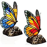 8 Set of Two Tiffany Style Butterfly Stained Glass Touch Accent Lamps