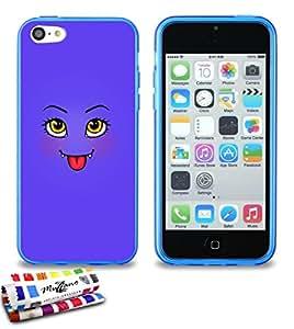 Carcasa Flexible Ultra-Slim APPLE IPHONE 5C de exclusivo motivo [Linda monstruo púrpura] [Azul] de MUZZANO  + ESTILETE y PAÑO MUZZANO REGALADOS - La Protección Antigolpes ULTIMA, ELEGANTE Y DURADERA para su APPLE IPHONE 5C