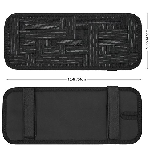 RUPSE Car Sun Visor Organizer - Car Visor Storage-Auto Document and Small Anti-Slip Elastic Woven Board Innovation Organization Tactical Bag for Sunglass Holder Parking Fuel Card Digital Accessories