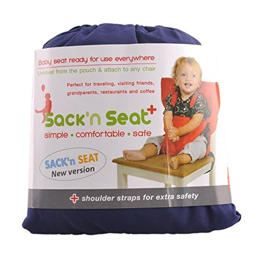Portable Travel High Chair Booster Baby Seat Harness Washable Cloth Packable Sack (Navy Blue)