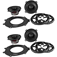 (2) Pairs of MB Quart DK1-113 5.25 2-Way Coaxial Car Speakers Totaling 200 Watt With Aluminum Dome Tweeter and Grills