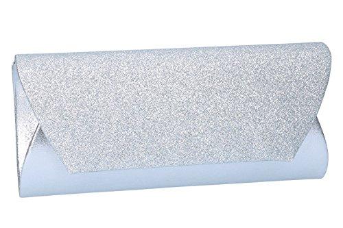 Bolso de mano mujer elegante LUCA BORSE Bolsa de noche plata N961