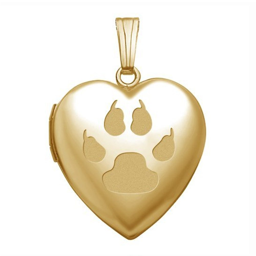 Solid 14K Yellow Gold Cats Paw Print'' Sweetheart Locket - 3/4 Inch X 3/4 Inch in Solid 14K Yellow Gold