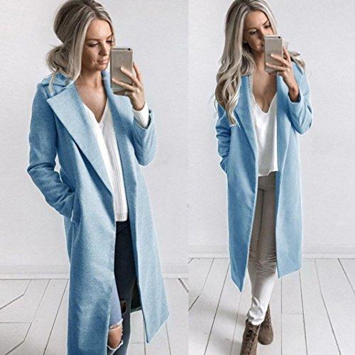 Eleganti Outwear Beautytop Autunno Lunga Donna Invernali Lungo Manica Cappotto Cappotto Parka Blu Giacche Cappotto Cardigan fOqTBYxE