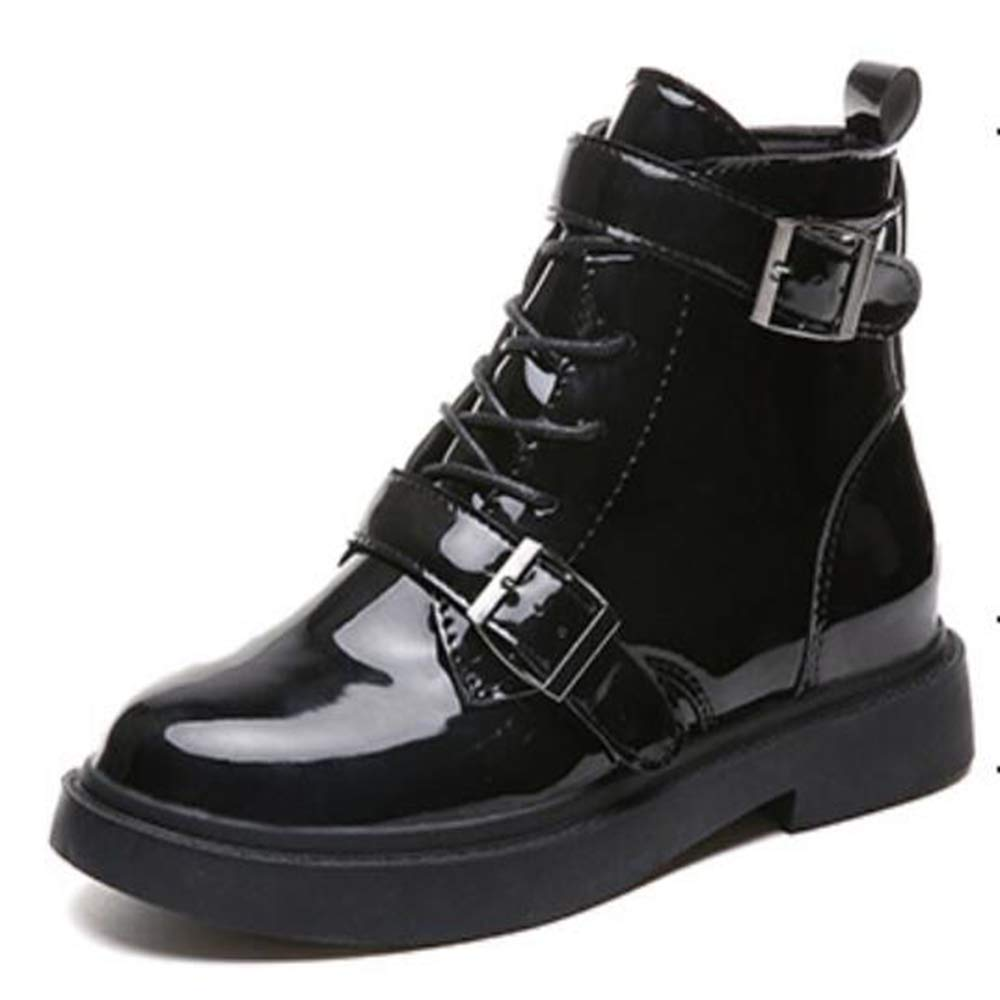 Black Women's Boots Autumn and Winter Patent Leather Glossy Mirror Leather Flat Metal Buckle Motorcycle Boots Martin Boots Casual Boots