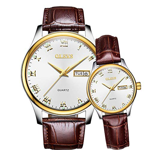 Couple Pair Watches for Men and Women Lovers Wedding Gifts Set of 2,OLEVS His and Hers Day Date Calendar Silver White Dial Gold Bezel Luminous Business Dress Brown Leather Wristwatch Waterproof