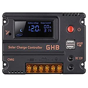GHB 20A 12V 24V Solar Charge Controller Auto Switch LCD Intelligent Panel Battery Regulator Charge Controller Overload Protection Temperature Compensation