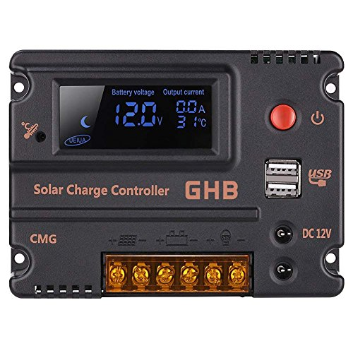 - GHB 20A 12V 24V Solar Charge Controller Auto Switch LCD Intelligent Panel Battery Regulator Charge Controller Overload Protection Temperature Compensation