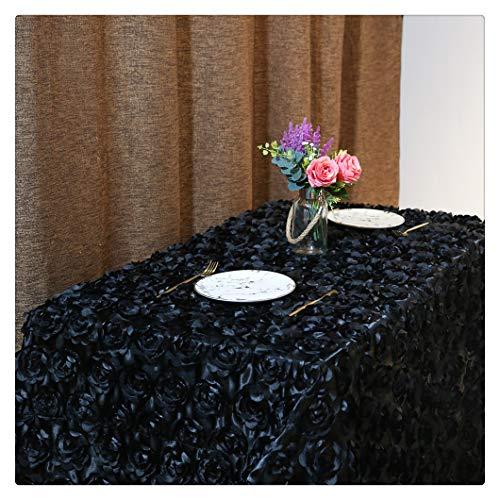 QueenDream Rosette Tablecloth Black 50x80 Rectangle Rosette Tablecloth 3D Satin Tablecloth for Wedding Party Event ()