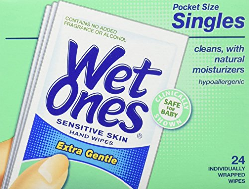 WET ONES Sensitive Skin Hand Wipes, Singles Extra Gentle Fragrance & Alcohol Free 24 ea