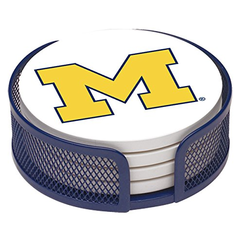 Thirstystone VUMI-HA23 Stoneware Drink Coaster Set with Holder, University of Michigan