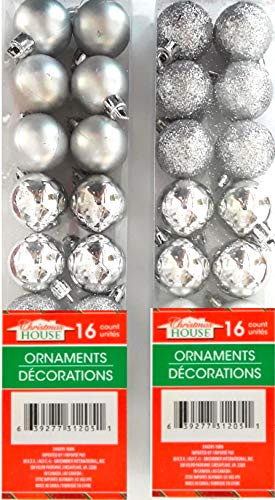Holiday Mini Silver assorted Ball Ornaments - Set of 2, 16 ct per Box, 36 Total. Shiny, Glitter & Matte Silver Ornament Finishes. Silver Ornaments Will give Your Holidays Some Sparkle and Shine! - Some Sparkle