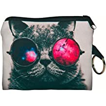 NEARTIME Coin Wallet, Coins Change Purse Zipper Wallet Small Key Bags Dog Cat Print (Hot Pink)
