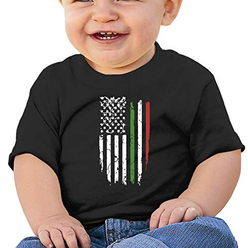 American Italian Flag Baby T-Shirt Kids Short Sleeve Top Black