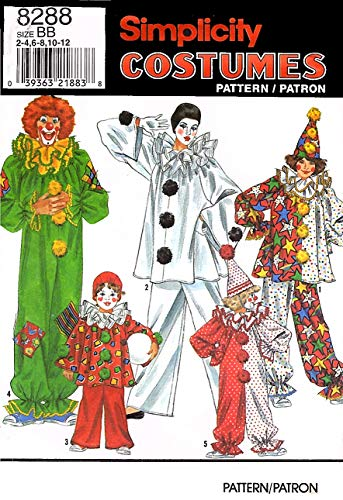 Simplicity 8288 Sewing Pattern, Boys' and Girls' Clown Costumes and Hat, Size BB -