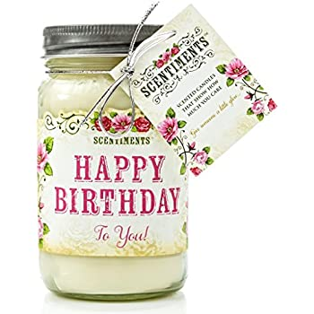 Scentiments HAPPY BIRTHDAY Gift Candle Vanilla Scented Fragrance 16oz