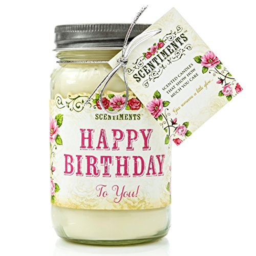 Happy Birthday Plaque (Scentiments HAPPY BIRTHDAY Gift Candle Cinnamon Scented Fragrance 16oz)
