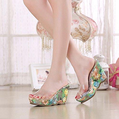 Wedges 5cm Eu38 9 Slippers Bohemia Waterproof Women's Bottom Zhirong High Platform Summer 9 Thick Beach Pattern Print Sandals Size color 5cm uk5 Floral Transparent cn38 Shoes 5 Heel RqtwR