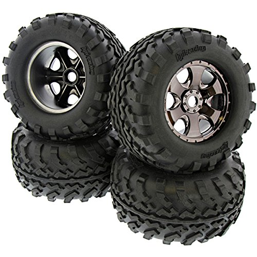 (HPI 1/8 Savage XL Flux GT2 Tires & Black Chrome Warlock Wheels Front Rear)