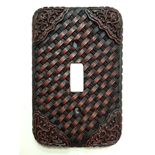 Woven Leather Look Resin Single Switch Cover Plate