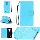 LG G4 Case with Free Screen Protector,Leather Wallet Strap Slots Case Butterfly Embossed Design Full Protection Stand Case for LG G4 - Blue