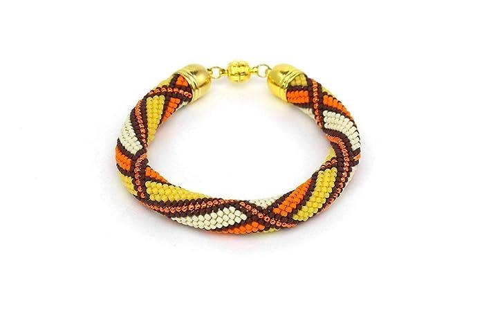 Amazoncom Orange Yellow Beige Brown Seed Bead Crochet Bracelet For