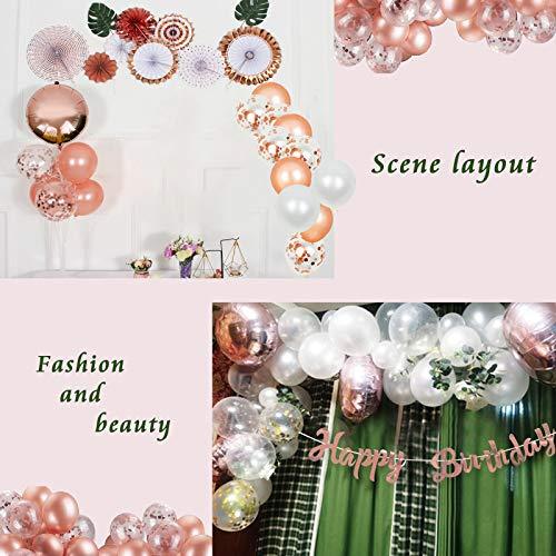 Treedeng 62 Pcs Balloon Rose Gold Birthday Decoration Package Balloon Deluxe Set Confetti Balloon Birthday Party Decoration