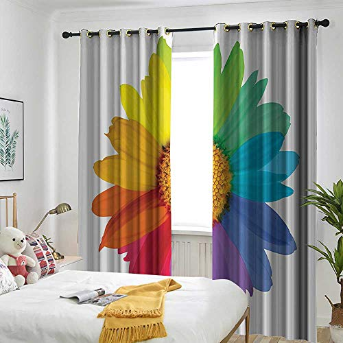 (AndyTours Flower Decor Doorway Curtain Rainbow Colored Sunflower or Daisy Spring Inspired Image Hippie Style Print Modern Home Decor Simple Stylish 72