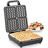 VonShef Large Waffle Maker | Quad Belgian Waffle Iron with Non-Stick Cooking Plate, Automatic Temperature Control & Stainless Steel Design | 1100W