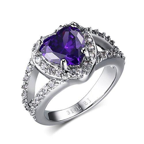 UMtrade Mujer Acero inoxidable Cristal Amor Corazón Anillos Boda Compromiso Banda Plata Púrpura