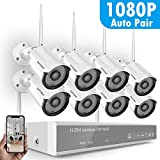 1080P Security Camera System Wireless,Safevant 8CH 1080P Security Camera System(NO Hard Drive),8PCS 1080P Indoor/Outdoor IP66 Wireless Security Cameras,Plug&Play,No Monthly Fee