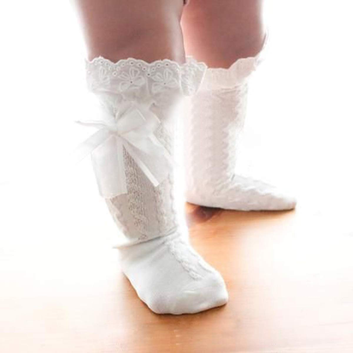 Soft Comfortable Cotton Socks for Infant Toddler Aisheny 4 Pairs Baby Girls Lace Lining Socks Size : 2-4T