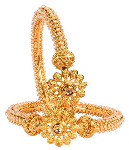 Shiv_Collection Indian Polki Bangle Gold Tone Ethnic Traditional Bollywood Fashion Jewelry (2.8)