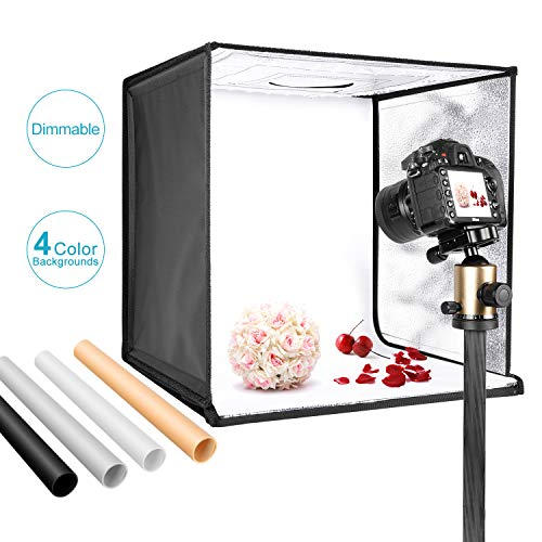 Neewer Photo Studio Light Box 20 inches/50cm Shooting Light Tent Adjustable Brightness Foldable Portable Professional Booth Table Top Photography Lighting Kit 120 LED Lights 4 Colors Backdrops from Neewer