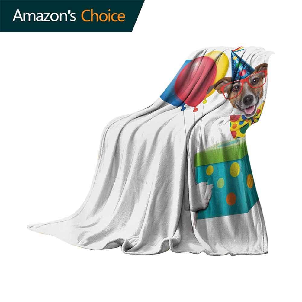 Kids Birthday Decorative Throw Blanket,Colorful Balloons Boxes and Dots Print Dog Animal Puppy with Party Cone Print Ultra-Plush Comfort Blanket for Outdoor(62''x60'')-Multicolor