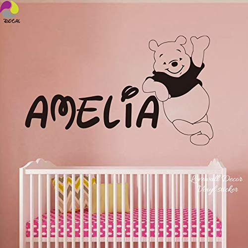 PPL21 (Leave a Message of Custom Information) Personalized Name Winnie The Pooh Wall Sticker Decal Baby Nursery 150cmx87cm Custom Name Bear Vinyl Home Decor Mural 1 PCs