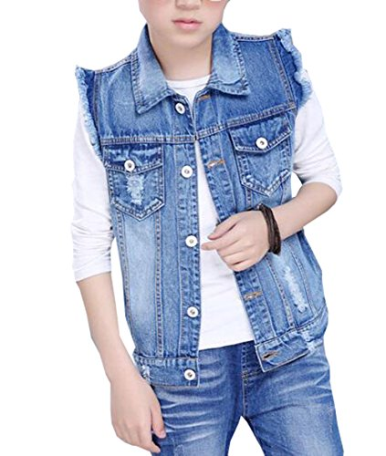 MYtodo Boys Cowboy Single-Breasted Vest Jacket Child Denim Broken Hole Vest -
