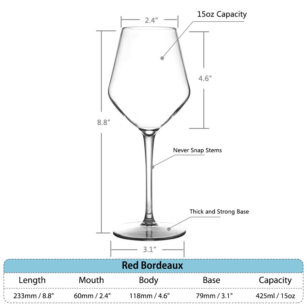 MICHLEY Unbreakable Stemmed Wine Glass 100% Tritan Plastic Dishwasher safe Glassware 15 oz, Set of 4 by MICHLEY (Image #3)