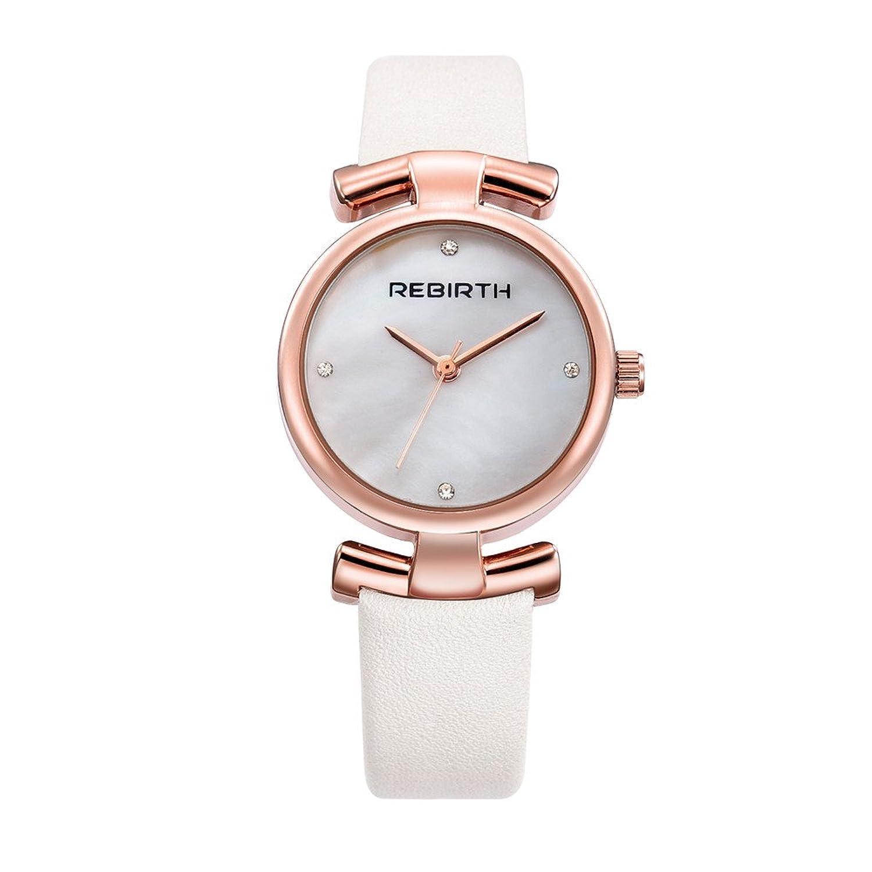 Rebirthレディース簡潔なドレススタイルシンプルなダイヤルNumberlessクオーツ腕時計、レザーストラップ 2# B0727Y93Q42#