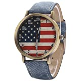 Retro United States Flag Blue Band Quartz Analog Wrist Watch