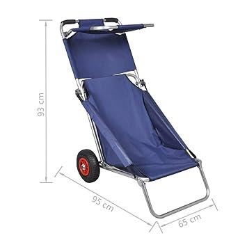Chariot Plage Pêche Bleu Et De Avec Pliable Portable Vidaxl Roues IW9EDH2